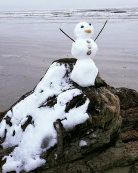 snowman at Galveston Island State Park
