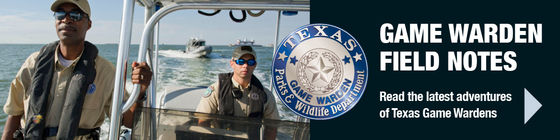 2 Game Wardens in a boat, Game Warden Field Notes link