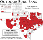 Map of Counties with Burn Bans