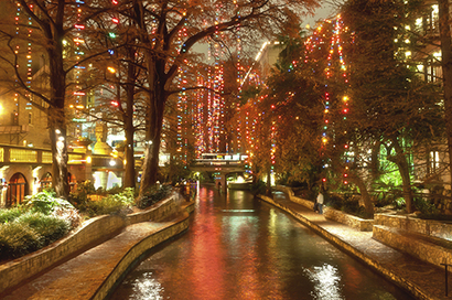 San Antonio River Walk Decorated for the Holidays