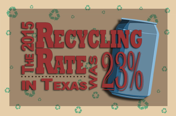 The 2015 Recycling Rate in Texas was 23%
