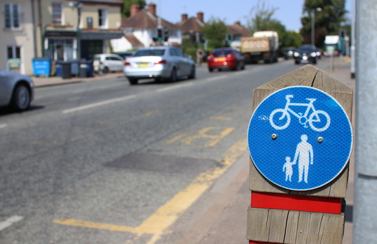 Milton Road cycling sign