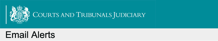 Courts and Tribunals Judiciary alert banner