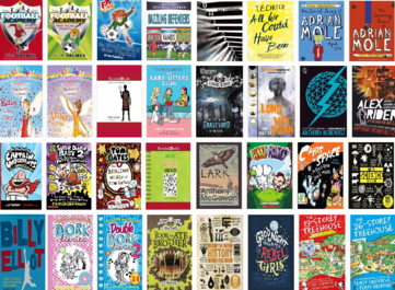 Collage of book jackets from the Reluctant Readers Collection