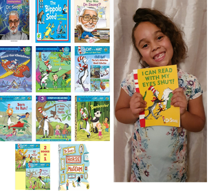 Girl surrounded by Dr Seuss books
