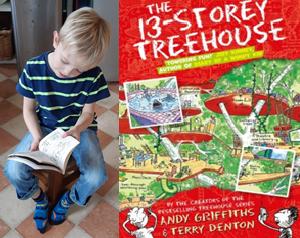 Boy reading The 13 Storey Treehouse
