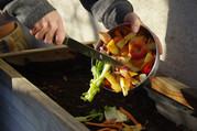 man scraping vegetable scraps into a compost bin