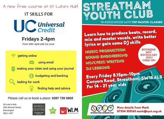 Musical production poster alongside ICT skills training poster