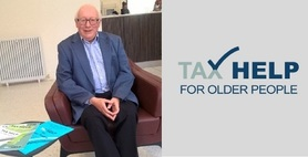 Two images side by side of an older man next to the Tax Help for Older People logo