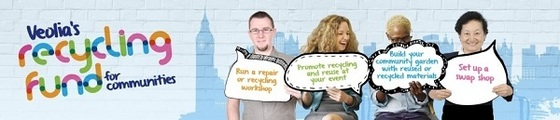 Veolia recycling fund banner image showing four people holding up suggestions for what you can do with recycling