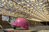 Construction site with helmet