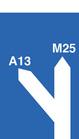 A13 M25 road sign