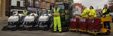 Street sweeping and chewing gum removal machines