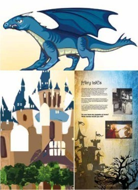 Illustration of dragon and panels from exhibition