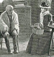 Illustration of a Victorian man and woman chatting