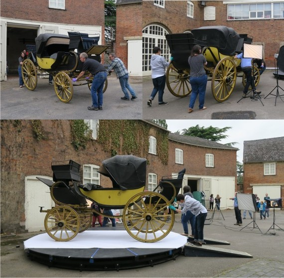 Moving the Dyott barouche onto the turntable