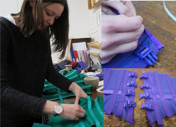 Sarah Bradshaw putting together corsets for the To Die For? exhibition