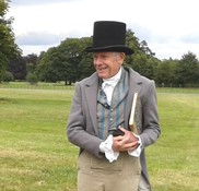 Bob dressed as architect Samuel Wyatt for a film about the Park Farm, Shugborough
