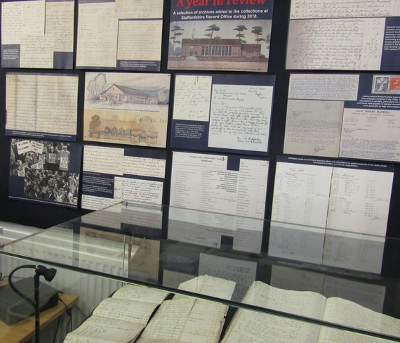 End of year review display at the Staffordshire Record Office