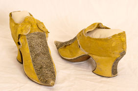 Silk brocade shoes, early 1700s