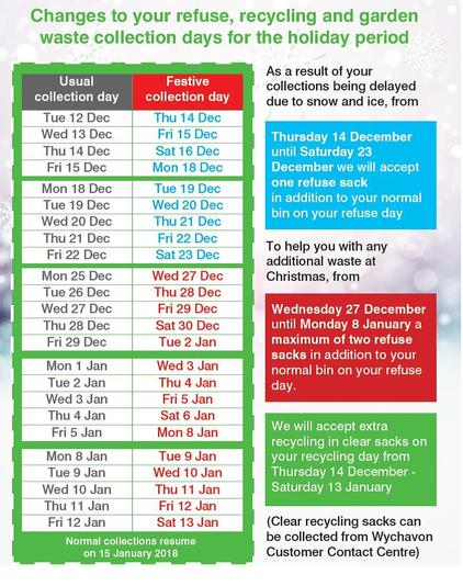 Bin collection dates