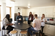 Students in shared kitchen