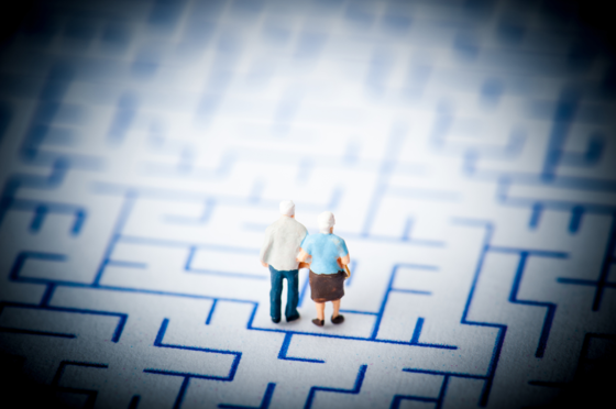 Elderly couple in a maze