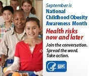 National Childhood Awareness Month, image of children holding lunch trays (social media badge)