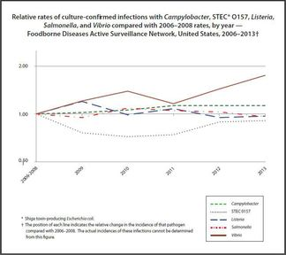 Relative rates of culture-confirmed infections from five pathogens compared with 2006-2008 rates.