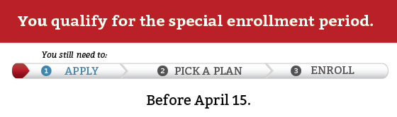 You qualify for the special enrollment period. You still need to apply before April 15.