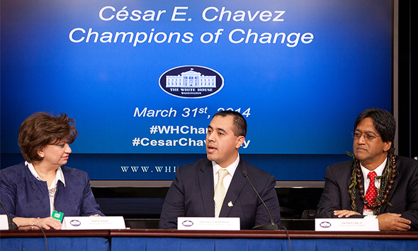 Germain Castellanos, an AmeriCorps alum, speaks on a panel at the White House. He was honored as a Champion of Change.