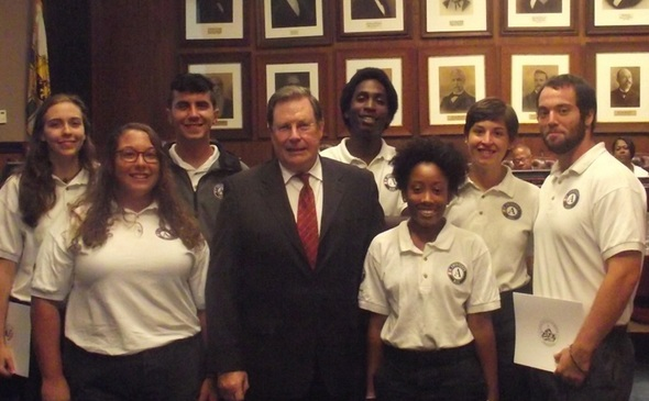 Mayor Mark Stodola of Little Rock, AR honors an AmeriCorps NCCC team for their childhood obesity initiative.