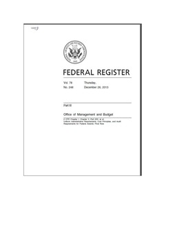 Federal Register - Uniform Administrative Requirements, Cost Principles, and Audit Requirements for Federal Awards; Final Rule
