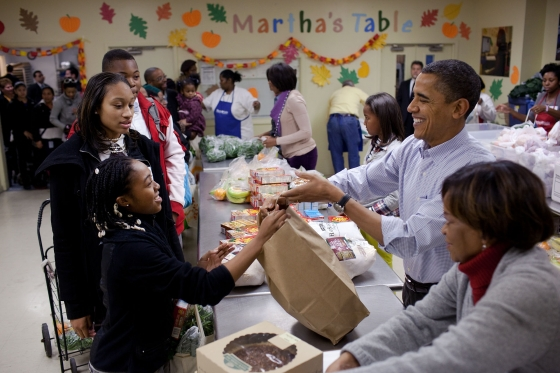 President Obama volunteers at Martha's Table