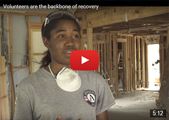AmeriCorps members with AmeriCorps NCCC and St. Bernard Project assist with volunteer coordination efforts in Texas recovery operations.