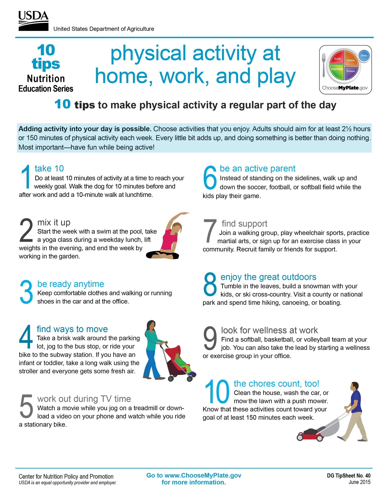 Physical Activity at Home, Work, and Play: 10 Tips Nutrition Education ...