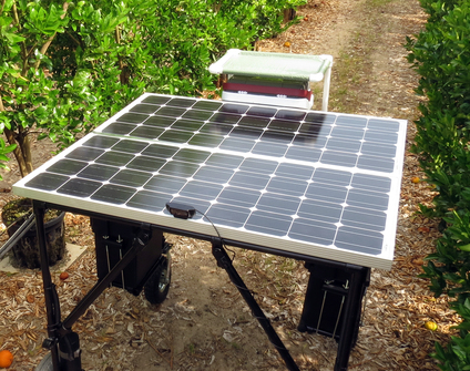 First prototype of a solar-powered robotic scout developed for citrus under protective screen groves.