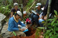NRCS-CB Soils staff, assisted by RUM students and UW Researcher, describes site in Las Marías, PR.