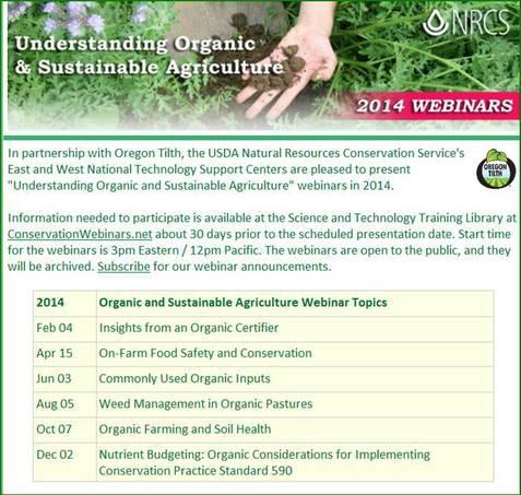 Understanding Organic & Sustainable Agriculture - 2014 Webinars