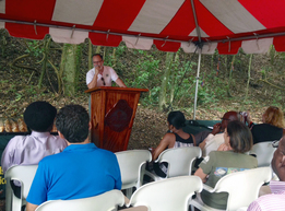 Dr. Ariel Lugo describes the USDA-FS Forest Legacy Program to participants Friday morning, June 20th.