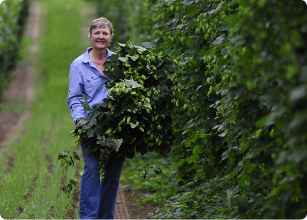 Gayle Goschie is a third-generation hop grower on her 550-acre family farm in Silverton, Oregon