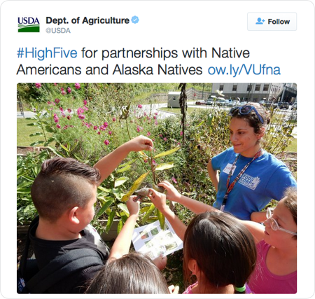 #HighFive for partnerships with Native Americans and Alaska Natives http://ow.ly/VUfna