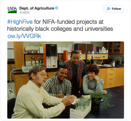 #HighFive for NIFA-funded projects at historically black colleges and universities http://ow.ly/VVGRk