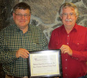Darryl Anderson, PE, PLS, Anderson Engineering & Surveying, Inc., (left) and Ray Simms, Town Manager, Town of Lakeview