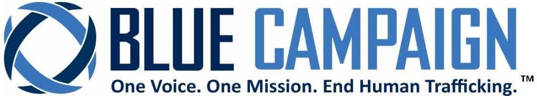 Blue Campaign Logo with TM trademark mark and tagline One Voice. One Mission. End Human Trafficking