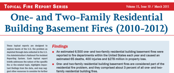 United States Fire Administration Report on One- and Two-Family Home Basement Fires (2010-2012)