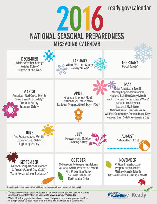 2016 National Seasonal Preparedness Messaging Calendar