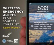Wireless Emergency Alert (WEA) on a mobile device.