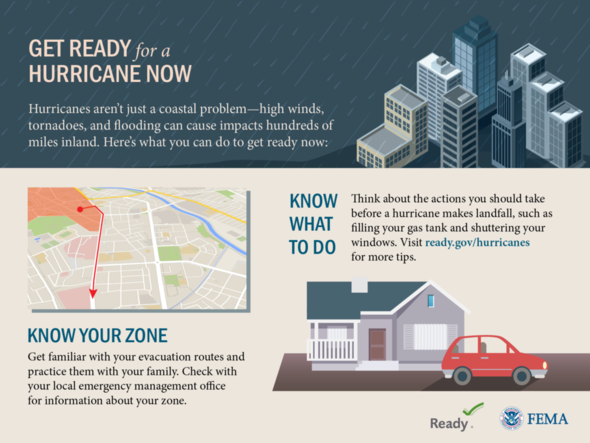 This graphic shares what you can do to get ready before a hurricane comes.