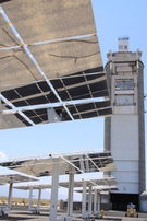 Falling particle receiver on top of Sandia's solar tower